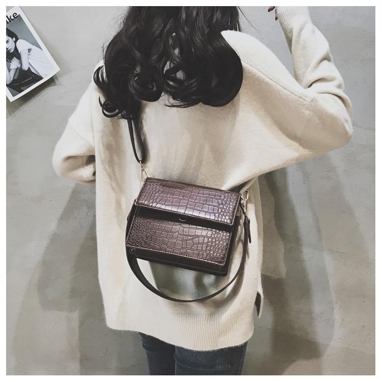 Women's Compact Crocodile Skin Style Shoulder Bag