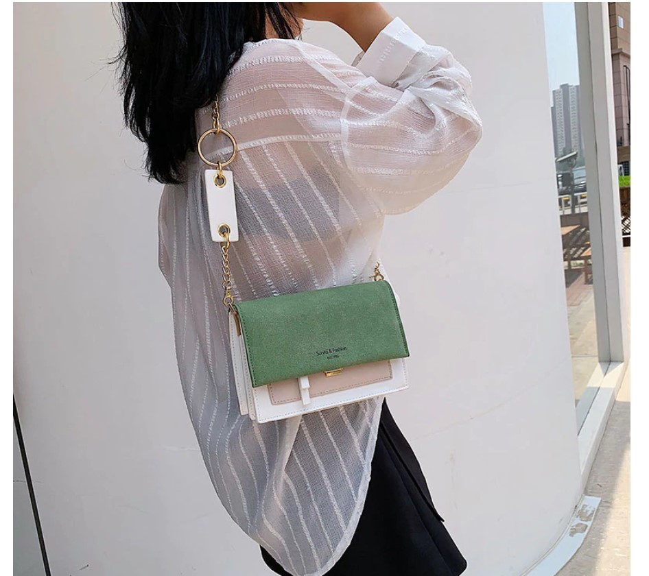 Women's Color Block Crossbody Bag with Wide Strap