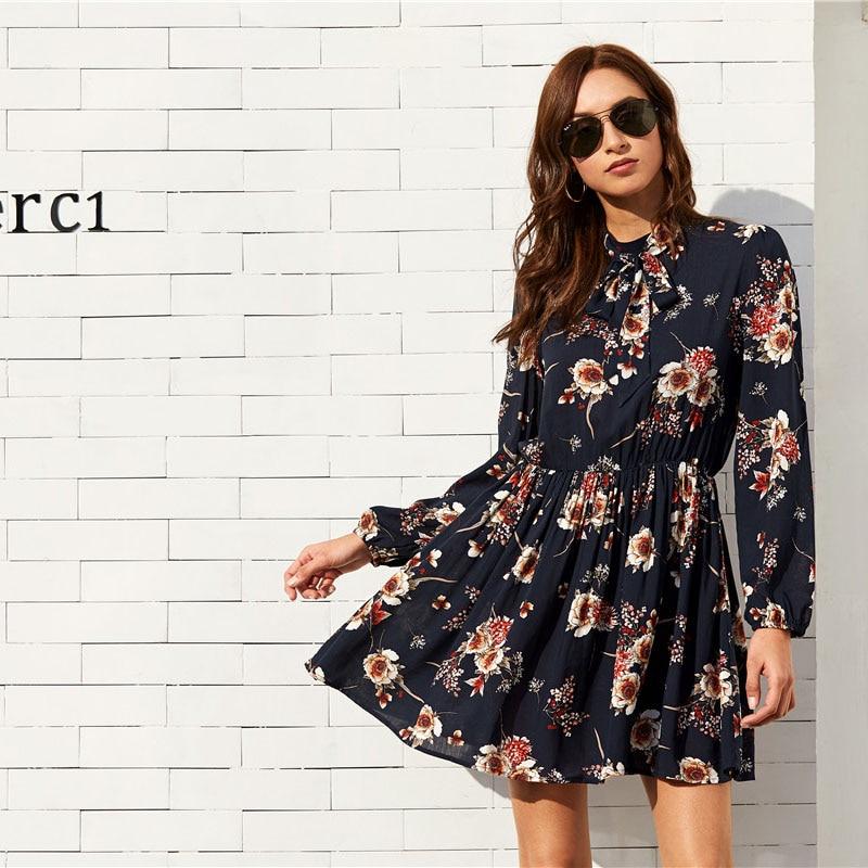 Women's Floral Design Mini Dress