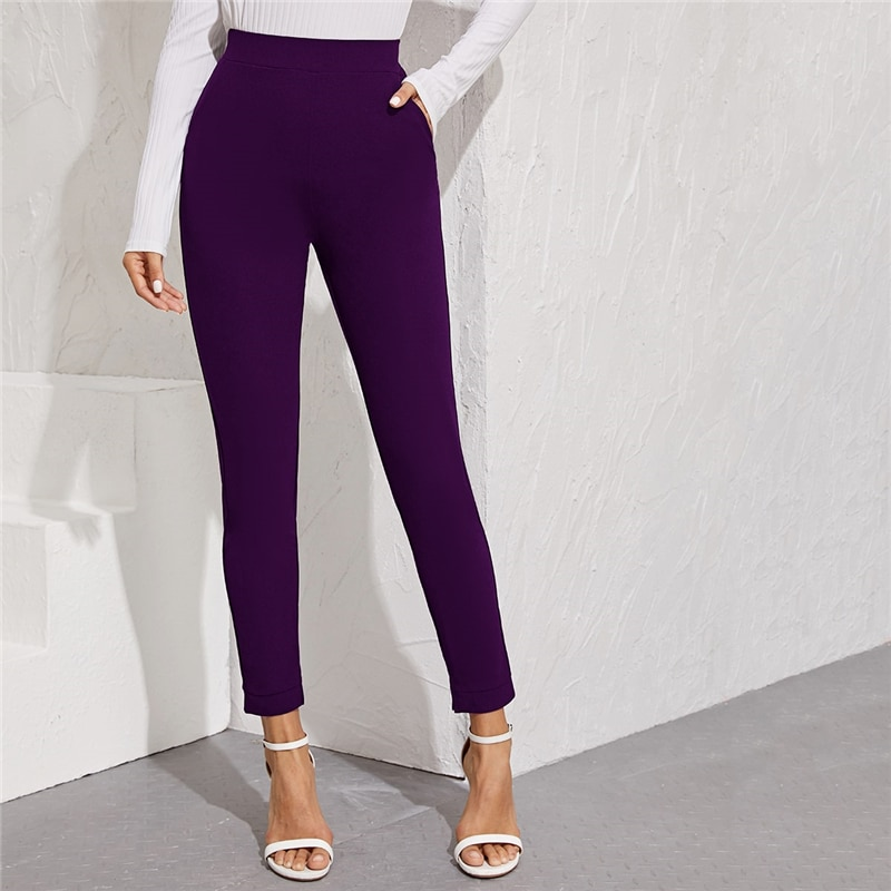 Women's Elastic Formal Solid Color Pants